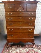 Antique Queen Anne Tiger Maple Highboy Chest of Drawers. Carved Shell. Usa 1820