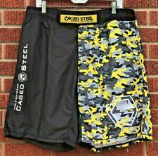 Caged Steel Mma Fightgear Shorts Kickboxing Wrestling Ma Black Yellow Camo~2Xl