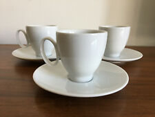 Set Of 3 Guy Degrenne Porcelain Espresso Coffee Cups & Saucers New Plain White