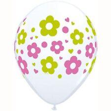 10 DAISIES DOTS & HEARTS GREEN PINK BALLOONS GARDEN TEA PARTY FLOWER DAISY
