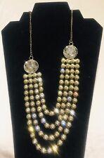 New Gold Diamanté Party Collar Statement Necklace Floral Gown Wear