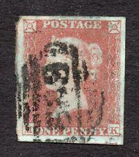 Qv 1841 Sg 8-12 ( M K ) 1d red brown large 4 margin with light cancel.