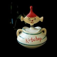 Vintage DAVAR KETCHUP PIXIE Jar - Condiment Canister for retro 1950s Kitchen