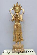 """38"""" Tibet Bronze Gild Stand Lotus Maitreya Kwan-Yin Bodhisattva Buddha Statue"""