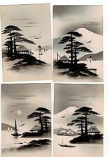 JAPAN. OLD HAND PAINTED ART POSTCARDS SET OF SIX