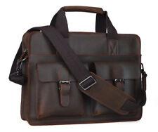 """Vintage Men's 14"""" Laptop Briefcase Satchel Leather Shoulder Messenger Sling Bag"""