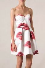 MSGM UK 6-8 US 2-4 IT 38-40 WHITE SATIN RED LIPS BUSTIER MINI COCKTAIL DRESS