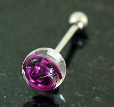 """1 Pc Titanium Rose Embedded In Clear Ball Tongue Ring 14g 5/8"""" 10mm Rose Ball"""