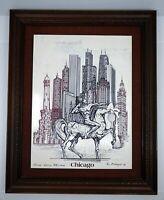 Eugene Andreyev Native Chicago Skyline Etching Signed 1982 Ltd Ed 168/5000 Horse