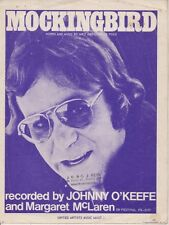 "JOHNNY O'KEEFE  Rare 1974 Australian Only OOP Original Sheet Music ""Mockingbird"""