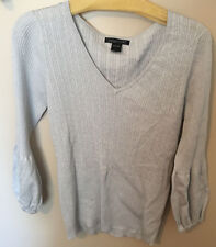 AUGUST SILK WOMEN SILVER V-NECK SWEATER SPARKLY!!! Large top