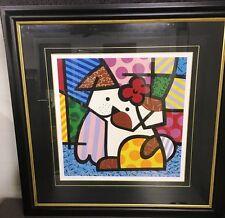 "ROMERO BRITTO 'Valley Dog', 2001 SIGNED Ltd Ed Silkscreen Print 42"" x 42"" Framed"