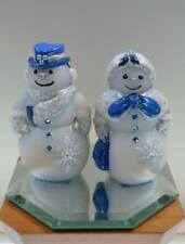 Fenton Snowman COUPLE White Satin ENOUGH WITH THE SNOW, ALREADY! OOAK FREEusaSHP