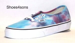 Vans Unisex Authentic Solid Canvas Skateboard Sneakers,Color (Tie Dye) Pink/Blue