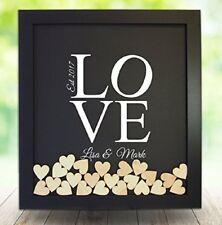 LOVE Personalized Wedding Guest Book Rustic Drop Top Box Wedding Signature Heart