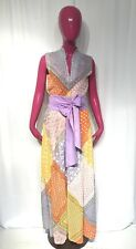 VINTAGE 70s ALFRED WERBER MAXI DRESS Handkerchief Sleeveless MAXI Calico 10