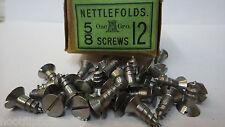 "25 x NETTLEFOLDS 5/8"" x 12 STEEL COUNTERSUNK SLOTTED HEAD WOOD SCREWS NOS"