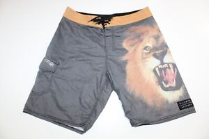 Billabong x White Mike Lion Platinum Board Shorts Size 32 Recycler Swim Trunks