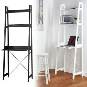 Verona Ladder Work Desk 2 Shelves Wooden Bedroom Computer Table Office Storage