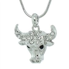 "Bulls Head Necklace Bull Horn Made With Swarovski Crystal Pendant 18"" Chain"