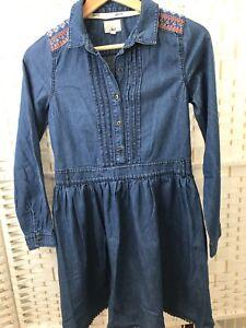 MANTARAY Girls Blue Denim Shirt Dress Age 13 Detail On Shoulders lace Trim hem