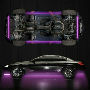 APP Control 4X RGB LED Under Car Tube Strip Underglow Body Neon Light Kit Decor
