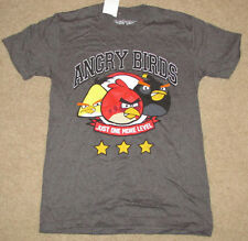 MENS T-SHIRT SMALL ANGRY BIRDS JUST ONE MORE LEVEL 3 STARS BLACK YELLOW RED BIRD