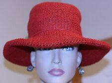 vintage WOMAN'S HAT RED FLOPPY BRIM PURPLE SILK FLOWER ROLLED EDGE BRIM NOT WORN