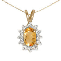 "14k Yellow Gold Oval Citrine And Diamond Pendant with 18"" Chain"