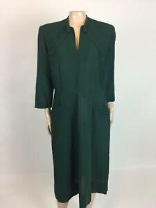 Vintage 50's Forstmann 100% Virgin Wool Dress Side zip 3/4 Sleeve Green H3-8