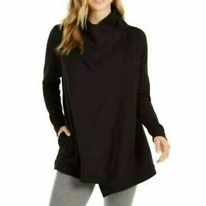 Ideology Womens Deep Black Snap Front Wrap Tunic Sweaters Plus Size 1X $79