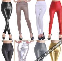 Sexy High Waist Leggings Wetlook Leggins Leder Optik Legging Damen Hose Clubwear