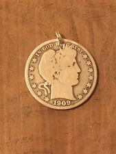 Barber Half Dollar 90% SILVER Coin Jewelry PENDANT CHARM-Vintage-Random Date!