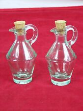 Italian Green Glass Pitchers Miniature Collectible Syrup With Corks Set Of 2