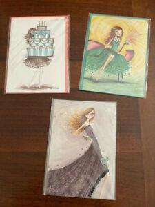 3 Papyrus Bella Pilar Birthday Cake Glamourous Cupcake Glitter Card Lot