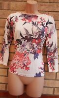MARKS SPENCER WHITE PINK BLACK FLORAL KNIT LONG SLEEVE JUMPER TOP SHIRT BLOUSE S