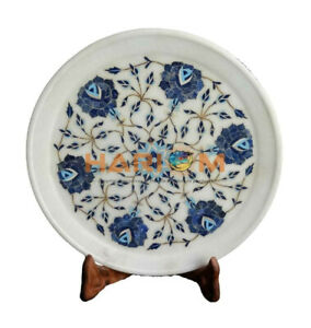 "12"" White Marble Beautiful Plate Lapis Turquoise Floral Inlay Kitchen Decor P002"