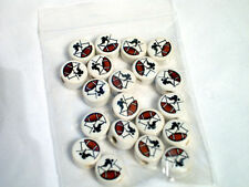 20 Ceramic 14mm FOOTBALL AND PLAYER Disc Beads SUPERBOWL FAVORS !