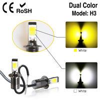 Pair H3 80W LED Fog Light Driving Bulb 9600L Dual Color White Yellow 6000K 3000K