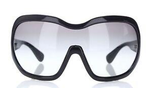PRADA 162985 Women's Black Oversized Shield SPR 05O 1AB-3M1 Gradient Sunglasses