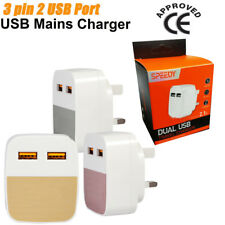 50X 2.1A AMP Fast Dual Twin 2 Port USB Charger UK Mains Wall Plug Adapter 3/Pin