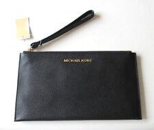 NEW Michael Kors Jet Set Large Zip Clutch Wristlet Bag Black Leather NWT $98