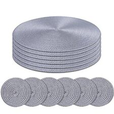 Homcomoda Round Placemats and Coasters Set of 6 Braided Woven Table Place Mats