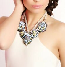 Chunky Statement Bib Necklace Silver White Pastel Floral Collar Oversize Acrylic