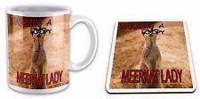 Warning Loopy MEERKAT Lady Funny  Gift Mug & Glossy Coaster Set