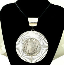 Silver Custom 1891 Dollar Pendant San Felipe Jacob Troncosa Large Sterling