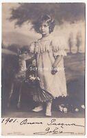 1901 foto cartolina EDGAR SCHMIDT augurale d'epoca Pasqua bambina cerbiatto AK