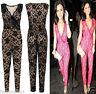 Womens Ladies Vneck Croche Lace Playsuit Wrapover Floral Print Jumpsuit Trouser