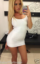 NWT bebe white shine open back cutout bodycon skirt top dress M Medium L large