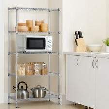 5-Tier Shelving Unit Stainless Steel Wire Metal Rack Home Office Shelf Storage